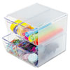 deflect-o Desk Cube, with Four Drawers, Clear Plastic, 6 x 7-1/8 x 6