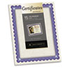 Foil-Enhanced Parchment Certificates, Ivory/Blue/Silver, 24 lb, 8.5 x 11, 15/Pk