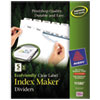 100% Recycled Index Maker Dividers, White 5-Tab, 11 x 8-1/2, 5 Sets/Pack
