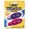 "Wite-Out Mini Twist Correction Tape, Non-Refillable, 1/5"" x 236"", 2/Pack"