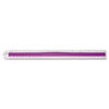 Westcott Plastic Ruler with Rubber Finger Grip, 12in/30cm, Assorted Translucent