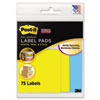 Removable Label Pads, 3w x 3h, Blue/Yellow, 75 Labels/Pack