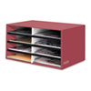 Decorative Eight Compartment Literature Sorter, Letter Size, Persimmon Red