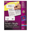 Send &amp; Reply Piggyback Inkjet/Laser Printer Labels, 1-5/8 x 4, White, 240/Pack