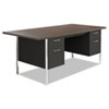 Alera SD7236BW Double Pedestal Steel Desk, Metal Desk, 72w x 36d x 29-1/2h, Walnut/Black ALESD7236BW ALE SD7236BW
