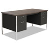 Alera SD6030BW Double Pedestal Steel Desk, Metal Desk, 60w x 30d x 29-1/2h, Walnut/Black ALESD6030BW ALE SD6030BW