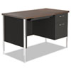 Alera SD4524BW Single Pedestal Steel Desk, Metal Desk, 45 1/4w x 24d x 29-1/2h, Walnut/Black ALESD4524BW ALE SD4524BW