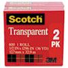 Scotch Transparent Tape Roll, 1/2