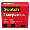 "Transparent Tape, 1/2"" x 1296"", 1"" Core, Clear"