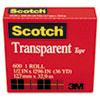 Scotch Transparent Tape, 1/2