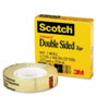 "Scotch Double-Sided Tape, 1/2"" x 900"", 1"" Core, Clear"