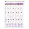 AT-A-GLANCE Recycled Monthly Wall Calendar, Blue and Red, 8