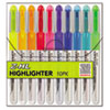 Z-HL Three-Chamber Liquid Highlighter, Chisel Tip, Asst Colors, 10/Set