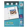 "Polypropylene Report Cover, Flex Fastener, Letter, 1/2"" Capacity, Clear/Blue"
