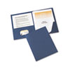 "Paper Two-Pocket Report Cover, Tang Clip, Letter, 1/2"" Capacity, Blue, 25/Box"