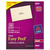 Avery Easy Peel Laser Mailing Labels, 1 x 2-5/8, Clear, 1500/Box