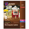 Avery Removable Rectangle Labels w/TrueBlock Technology, 3 1/2 x 4 3/4, White, 32/Pack