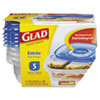 GladWare Plastic Square Containers with Lids, 25oz, Clear/Blue, 5/Pack