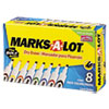 Marks-A-Lot Desk Style Dry Erase Markers, Chisel Tip, Assorted, 8/Set