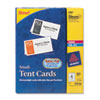 Tent Cards, White, 2 x 3 1/2, 4 Cards/Sheet, 160 Cards/Box