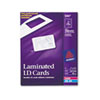 Laminated Laser/Inkjet ID Cards, 2 1/4 x 3 1/2, White, 30/Box