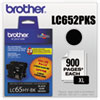 Brother LC652PKS (LC-65) Innobella High-Yield Ink, 900 Page-Yield, 2/Pack, Black