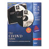 Avery Laser CD/DVD Labels, Glossy Clear, 40/Pack