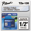 Brother P-Touch TZe Standard Adhesive Laminated Labeling Tape, 1/2w, White on Clear