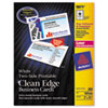 Avery Two-Side Clean Edge Laser Business Cards, 2 x 3 1/2, White, 1000/Box