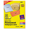 Permanent I.D. Labels, 1 x 2 5/8, Clear, 750/Pack