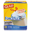 Glad ForceFlex Tall-Kitchen Drawstring Bags, 13 gal, .95mil, 24 x 28, White, 100/Box
