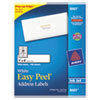 Avery Easy Peel Inkjet Address Labels, 1 x 4, White, 2000/Box