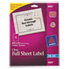 Avery Full-Sheet Inkjet Labels, 8-1/2 x 11, Clear, 25/Pack