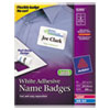 Avery Flexible Self-Adhesive Laser/Inkjet Name Badge Labels, 2 1/3 x 3 3/8, WE, 400/BX