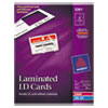 Avery Laminated Laser/Inkjet ID Cards, 2 1/4 x 3 1/2, White, 30/Box