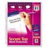 Avery Secure Top Sheet Protectors, Heavy Gauge, Letter, Diamond Clear, 25/Pack