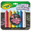 Crayola Washable Glitter Sidewalk Chalk, Six Assorted Colors, 6 Sticks/Set