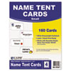C-Line Scored Tent Cards, White Cardstock, 2 x 3 1/2, 4/sheet, 40 sheets/BX