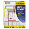 C-Line Reusable Dry Erase Pockets, 9 x 12, Assorted Primary Colors, 25/Box