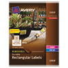 Avery Removable Rectangle Labels w/TrueBlock Technology, 1 1/4 x 1 3/4, Glossy, 256/PK