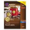 "Avery Round Labels, 2"" dia, Gold Foil, 96/Pack"