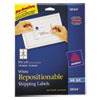 Avery Repositionable Shipping Labels for Inkjet Printers, 3 1/3 x 4, White, 150/Box