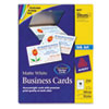Two-Side Printable Business Cards, Inkjet, 2 x 3-1/2, White, Matte, 250/Pack