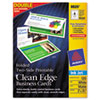 Avery Premium Clean Edge Business Cards, 2 x 3 1/2, White, 4/Sheet, 120/Pack