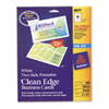 Avery Two-Side Printable Clean Edge Business Cards, Inkjet, 2 x 3-1/2, White, 200/Pack