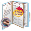 Smead Pressboard Classification Folders, Letter, Four-Section, Blue, 10/Box