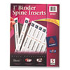 Custom Binder Spine Inserts, 1&quot; Spine Width, 8 Inserts/Sheet, 5 Sheets/Pack