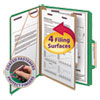Smead Pressboard Classification Folders, Letter, Four-Section, Green, 10/Box
