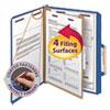 Smead Pressboard Classification Folders, Letter, Four-Section, Dark Blue, 10/Box
