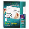 Avery Index Maker Clear Label Dividers, 5-Tab, Letter, White, 5 Sets/Pack